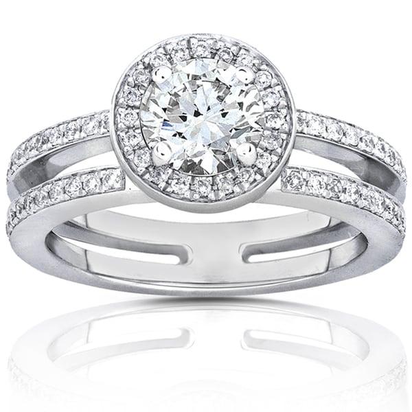 Annello by Kobelli 14k White Gold 1 1/3ct TGW Moissanite and Diamond Engagement Ring