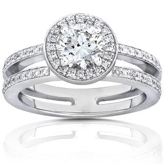 Annello by Kobelli 14k White Gold Moissanite and 1/3ct TDW Diamond Engagement Ring (G-H,