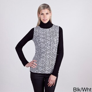 Colour Works Women's Diamond Pattern Solid Pullover