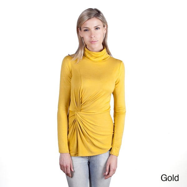 Colour Works Women's Twist Knot Waist Turtle Neck Pullover