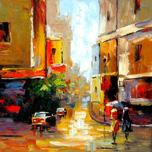 'Street Corner' Gallery Wrapped Hand-Painted Oil Painting