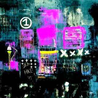 'The Night Life Gallery' Wrapped Embellished Giclee Print