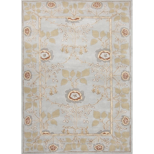 Transitional Arts and Crafts Blue Wool Tufted Rug (5' x 8')