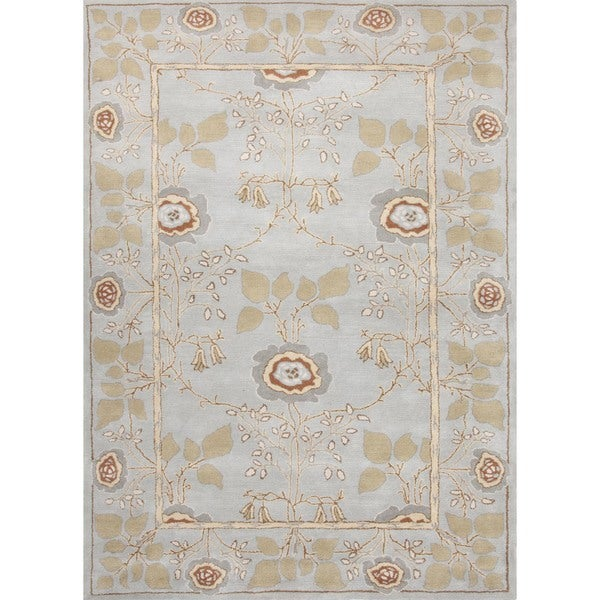 Transitional Arts and Crafts Blue Wool Tufted Rug (3'6 x 5'6)