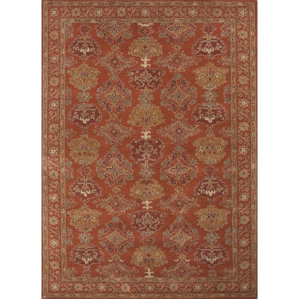 Traditional Floral Red/ Orange Wool Tufted Rug (9'6 x 13'6)