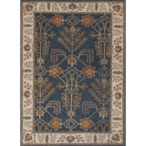 Hand-tufted Transitional Arts and Crafts Blue Wool Rug (8' x 11')
