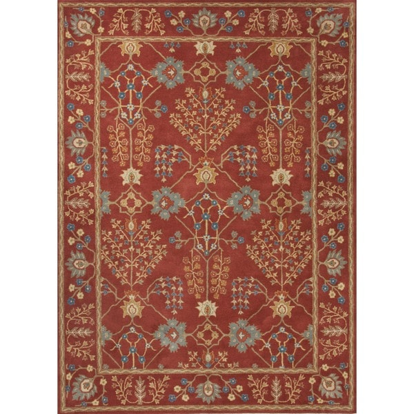 Hand-tufted Transitional Red Wool Area Rug (9'6 x 13'6)