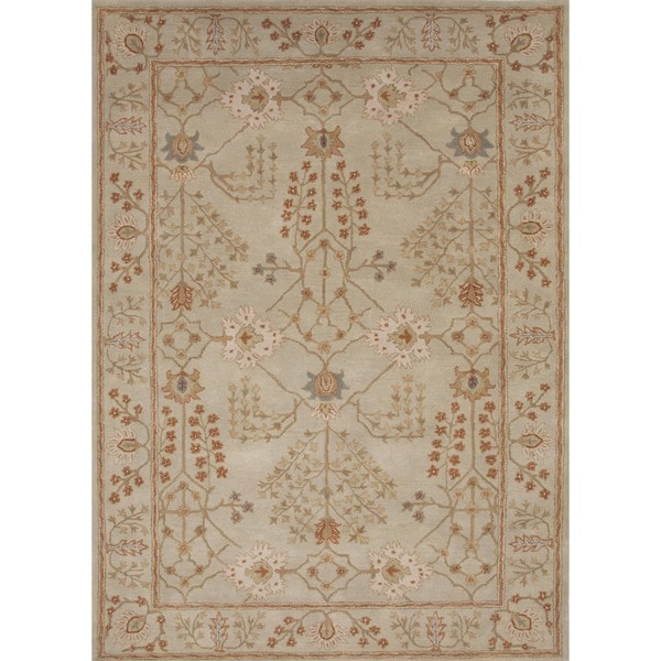 Hand-tufted Transitional Arts and Crafts Green Wool Rug (5' x 8')