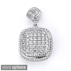 Sterling Silver Cubic Zirconia Cushion-shaped Pendant