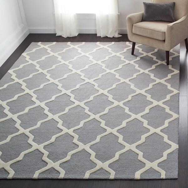 safavieh handmade moroccan cambridge silver wool rug - free