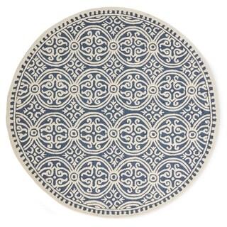 Safavieh Handmade Cambridge Myrtis Modern Moroccan Wool Rug (8 x 8 Round - Navy Blue/Ivory)