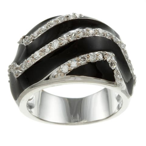 Simon Frank Silvertone Synthetic Onyx and Crystal Swirl Ring