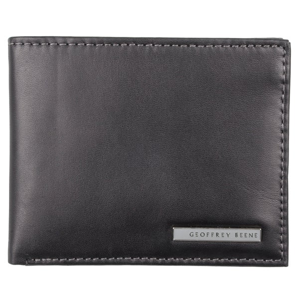 Geoffrey Beene Men's Black Genuine Leather Passcase Bi-Fold Wallet