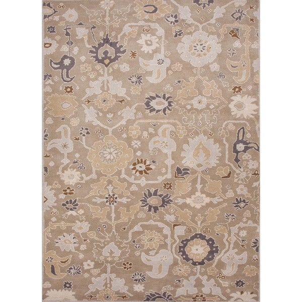 Hand-tufted Transitional Floral Gray Wool Rug (5' x 8')