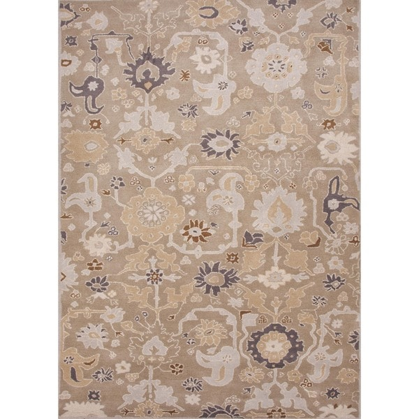 Hand-tufted Transitional Floral Gray Wool Rug (3'6 x 5'6)