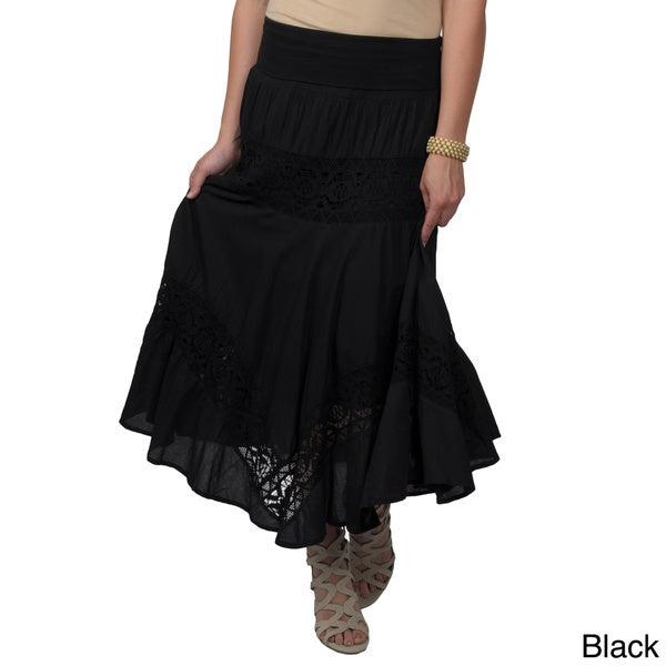 Journee Collection Juniors Crochet Detail Tiered Maxi Skirt