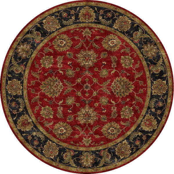 Hand Tufted Agra Red Gold Wool Rug 8 Round: Hand-tufted Traditional Red Wool Rug (8' Round)