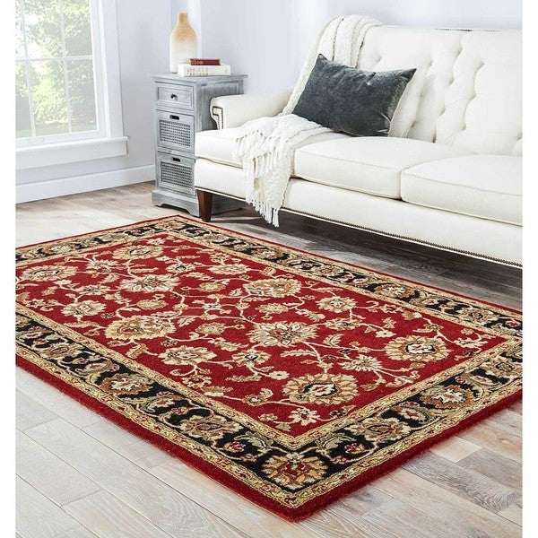 Hand Tufted Traditional Oriental Red Wool Rug With Non: Shop Della Handmade Floral Red/ Black Area Rug (9' X 12