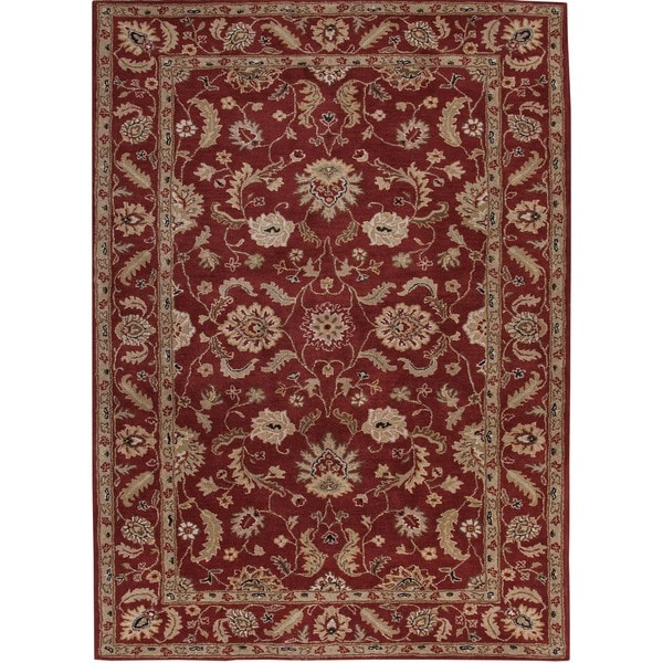 Hand-tufted Traditional Oriental Red/ Orange Wool Rug (2' x 3')