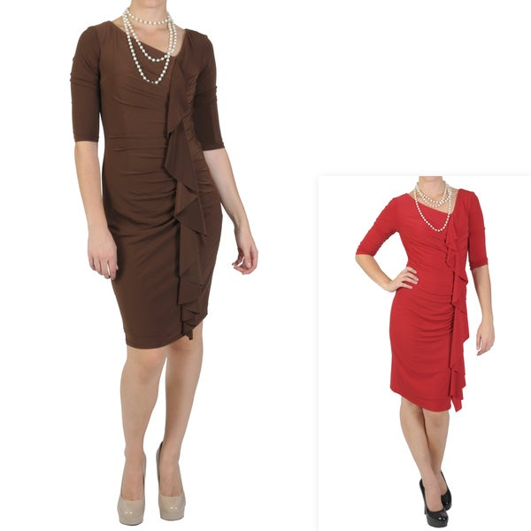 Sangria Women's Three-quarter Sleeve Fitted Ruched Dress