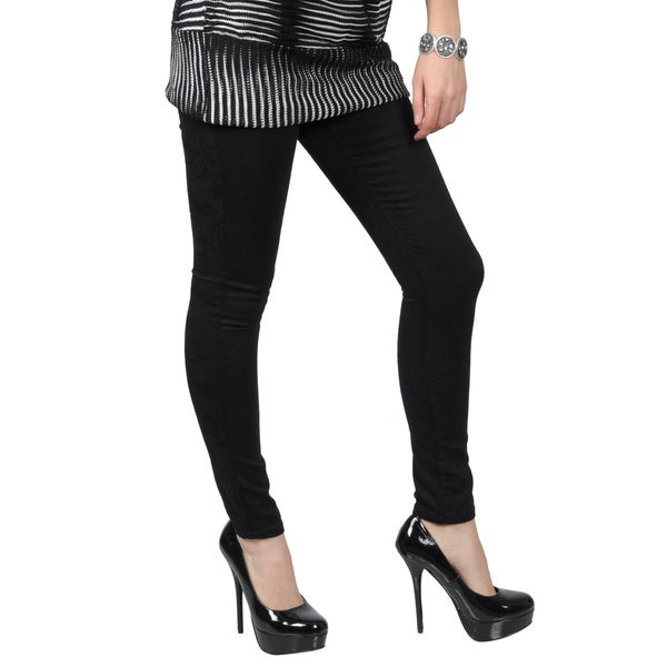 Journee Collection Juniors Stretchy Tonal Print Skinny Pants
