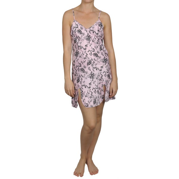 Hailey Jeans Co. Women's Floral Print Satin Chemise Nightie