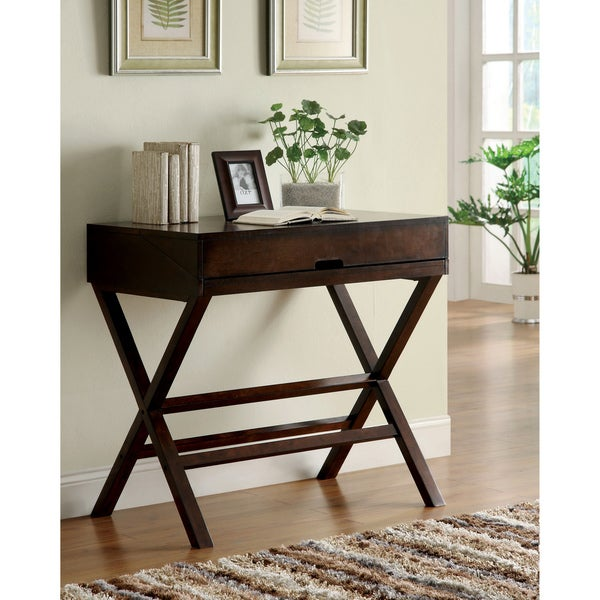 Furniture of America Dennilia Espresso Home Office Secretary Desk / Console Table