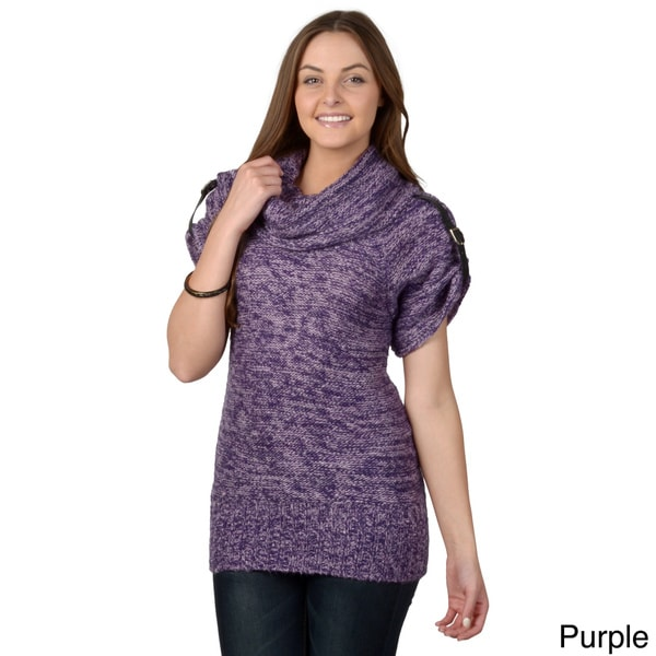 Journee Collection Juniors Short-sleeve Cowl NeckTunic Sweater