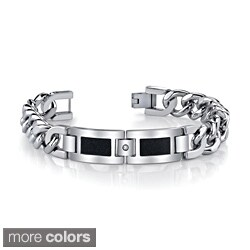 Stainless Steel Men's Cubic Zirconia Link-Style Bracelet By Ever One