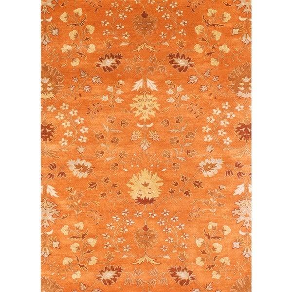 Hand-tufted Transitional Red/ Orange Wool Runner Rug (2'6 x 8')