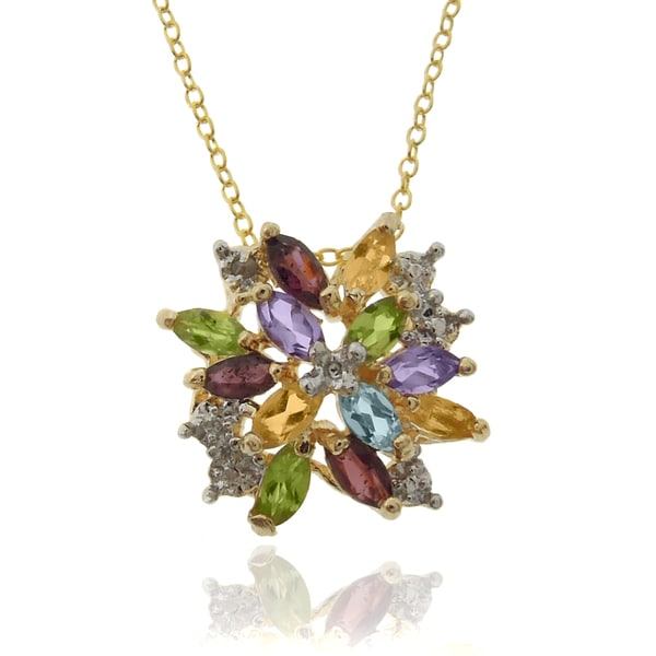 Dolce Giavonna Gold over Sterling Silver Multi-gemstone and Diamond Accent Pendant with Gift Box