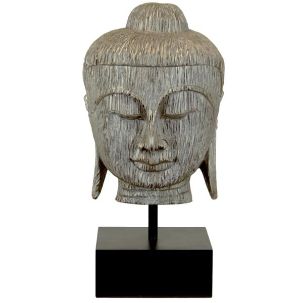 Urban Trends Collection 30-inch Silver Leaf Finish Resin Buddha Bust