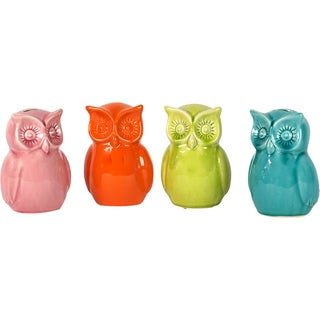 Urban Trends Collection Ceramic Owl Banks (Set of 4)