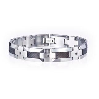 Tungsten/ Steel Men's 1/3ct TDW Black Diamond/ Carbon Fiber Bracelet By Ever One