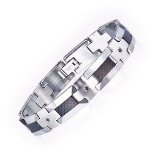 Tungsten/ Steel Men's 1/3ct TDW Black Diamond/ Carbon Fiber Bracelet By Ever One