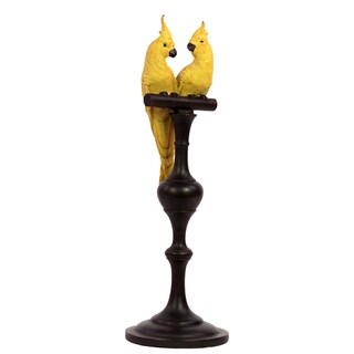Urban Trends Collection Yellow Resin Parrot on Stand
