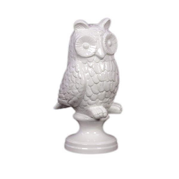 White Ceramic Owl on Stand