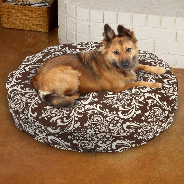 Sweet Dreams Brown Damask Round Corded Pet Bed