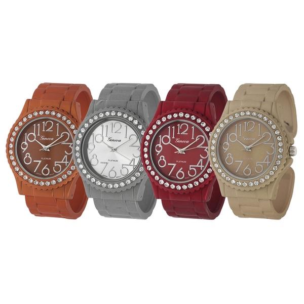 Geneva Platinum Rhinestone Cuff Japanese-Quartz Watch