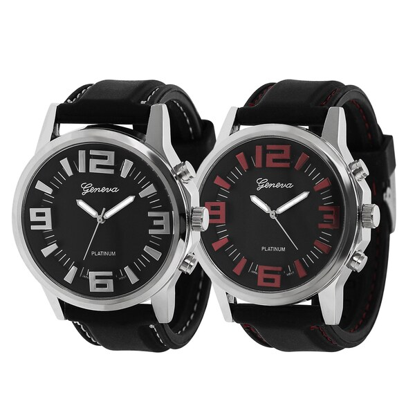 Geneva Platinum Topstitched Silicone Watch