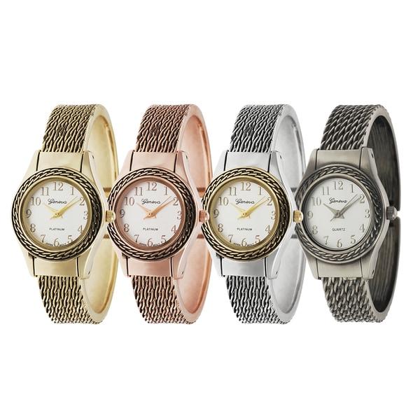 Geneva Platinum Round Face Cuff Watch