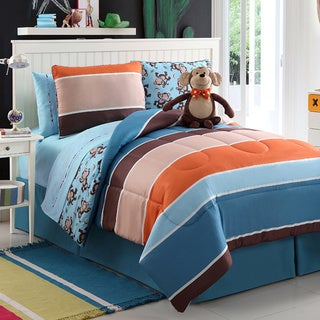 VCNY Monkey Reversible 4-piece Comforter Set