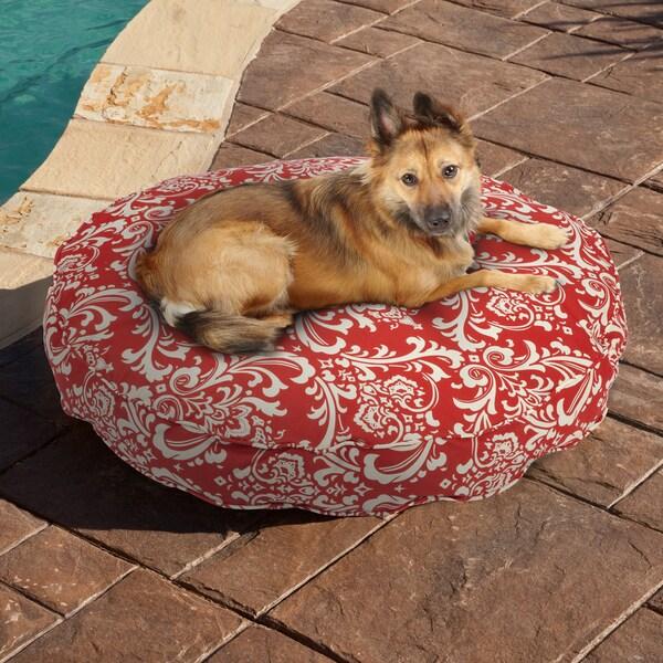 Sweet Dreams Red Damask Indoor/ Outdoor Round Corded Pet Bed