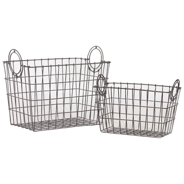 Urban Trends Collection Metal Baskets (Set of 2)