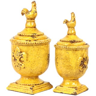Urban Trends Collection Antique Yellow Ceramic Jar with Lid (Set of 2)
