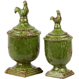 Urban Trends Collection Antique Green Ceramic Jar with Lid (Set of 2)