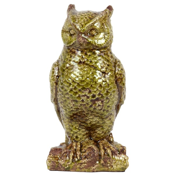 Urban Trends Collection Antique Green Ceramic Owl Accent Piece