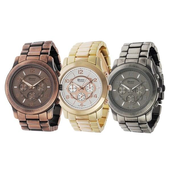 Geneva Platinum Chronograph Link Watch