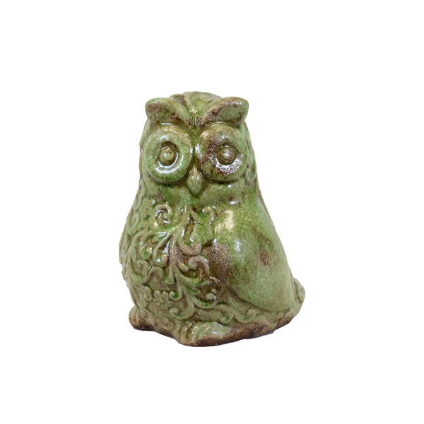 Urban Trends Collection Green Ceramic Owl Accent Piece