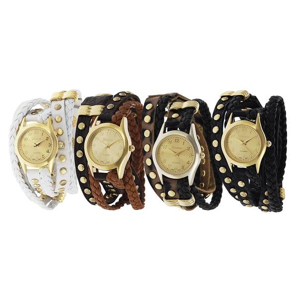 Geneva Platinum Women's Studded Wrap Watch with Goldtone Dial